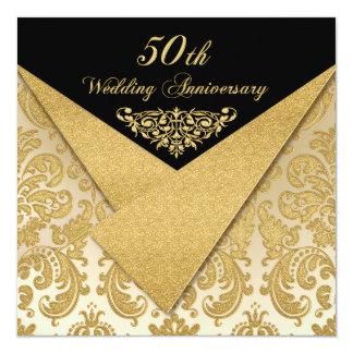 Convite 2 do aniversário do damasco 50th das