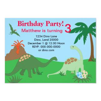 Convite 5x7 do aniversário do dinossauro