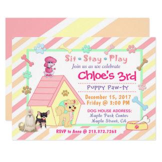 Convite | 5x7 do aniversário do partido do filhote