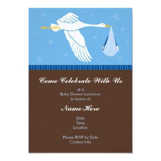 Convite 5x7 do chá de fraldas - azul e Brown