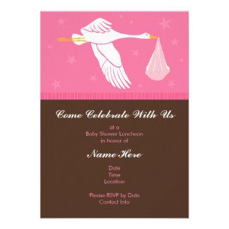 Convite 5x7 do chá de fraldas - rosa e Brown