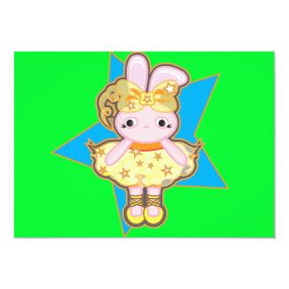 convite 5x7 Scalloped com dançarino do coelho