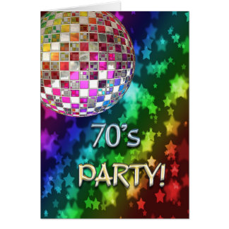 convite 70s com bola do disco e arco-íris da