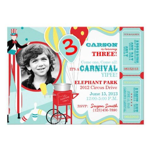 Convite A7-AQRD do aniversário do tema do carnaval