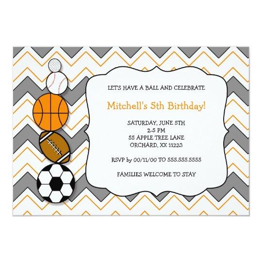 Convite A festa de aniversário das bolas dos esportes  23696c1265f18