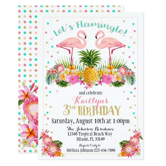 Convite Abacaxi Do Flamingo E Aniversário Floral Tropical Zazzle