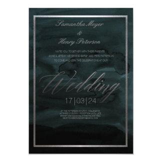 Convite abstrato elegante escuro do casamento da