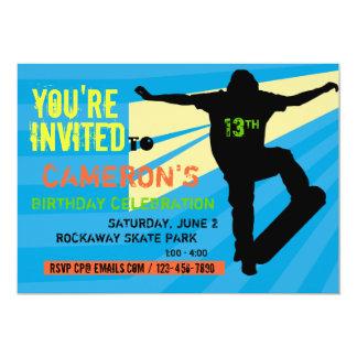 Convite adolescente do aniversário do skater