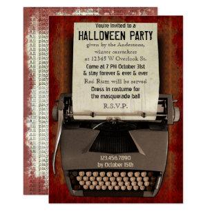 Convite Adulto assustador do horror da máquina de escrever