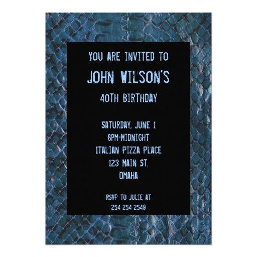 Convite adulto azul do aniversário de Snakeskin