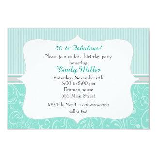 Convite adulto do aniversário da prata de turquesa
