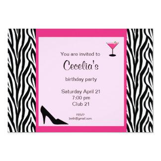 Convite adulto do aniversário da zebra (# INV 002)