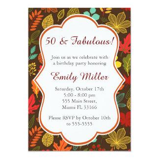Convite adulto do aniversário das folhas de outono