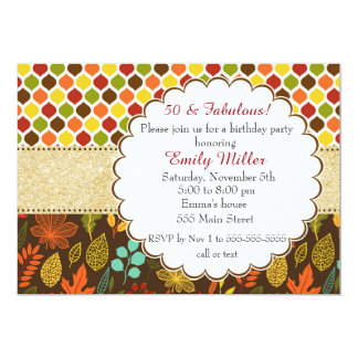 Convite adulto do aniversário do brilho do outono