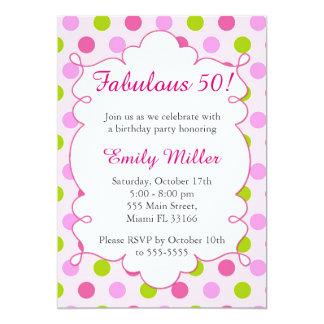 Convite adulto do aniversário do verde cor-de-rosa
