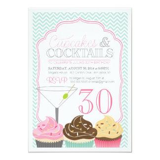 Convite adulto do aniversário dos cupcakes & dos convite 12.7 x 17.78cm