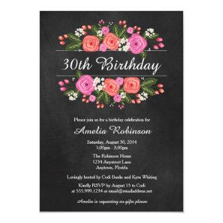 Convite adulto do aniversário, estilo floral do convite 12.7 x 17.78cm