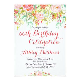 Convite adulto floral bonito do aniversário