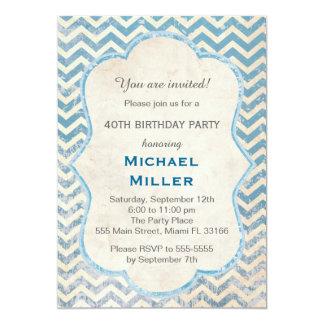 Convite adulto rústico azul do aniversário de