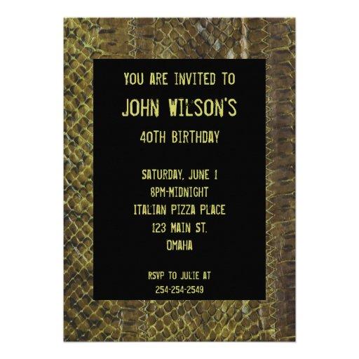 Convite adulto verde do aniversário de Snakeskin