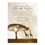 Convite africano do casamento do girafa de Brown e