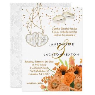 Convite alaranjado do casamento da flor do buquê