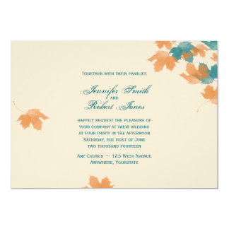 Convite alaranjado do casamento da folha de bordo