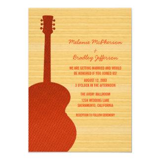 Convite alaranjado do casamento da guitarra do