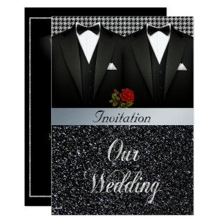 Convite alegre do casamento do smoking