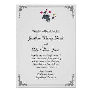 Convite alegre do casamento dos desenhos animados
