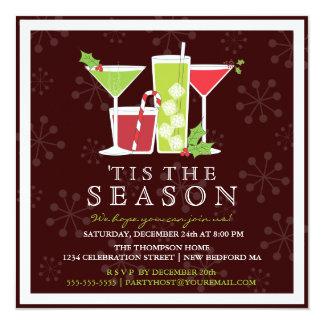 Convite alegre do cocktail do Natal do azevinho