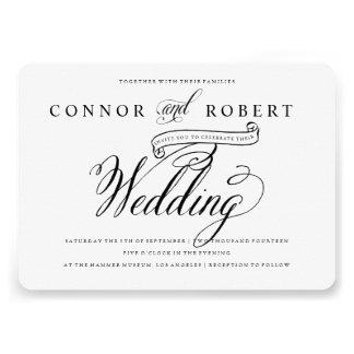 Convite alegre formal do casamento em preto no b