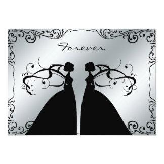 Convite alegre lésbica elegante do casamento