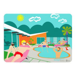 Convite alegre retro da festa na piscina