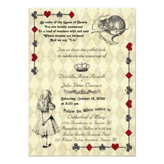 """Convite """"Alice do casamento no país das"""