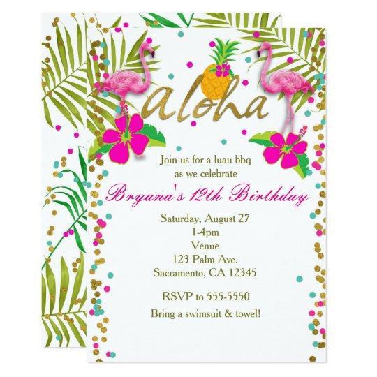 Convite Aloha Festa De Aniversário Tropical Do Flamingo Zazzlecombr