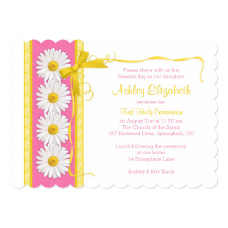 Convite amarelo cor-de-rosa do comunhão da