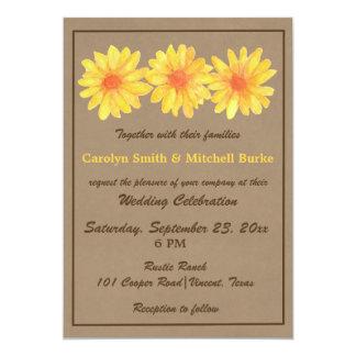 Convite amarelo do casamento das margaridas/papel convite 12.7 x 17.78cm