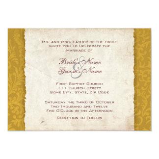 Convite amarelo do casamento do país da colheita