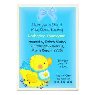 Convite amarelo do chá de fraldas do pato convite 12.7 x 17.78cm
