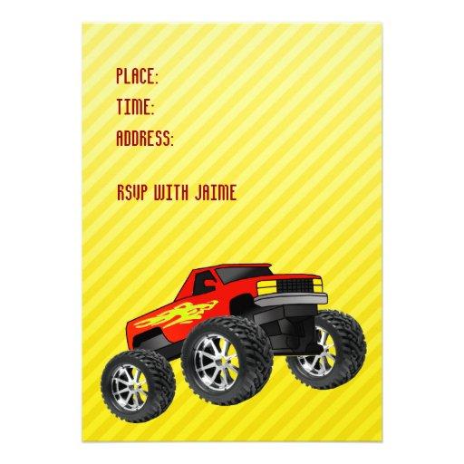Convite amarelo do monster truck