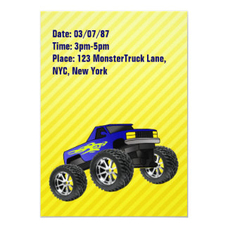 Convite amarelo do monster truck convite 12.7 x 17.78cm