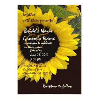 Convite amarelo do papel de feltro do casamento do