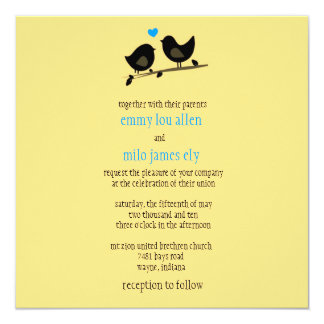 convite amarelo dos pássaros