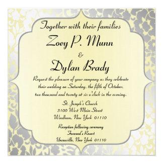 Convite amarelo metálico formal do casamento