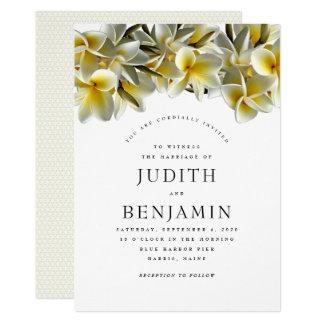 Convite amarelo moderno do casamento do Plumeria