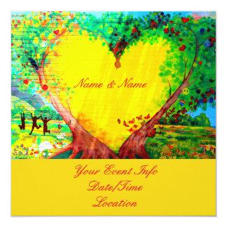convite amarelo personalizado do coração