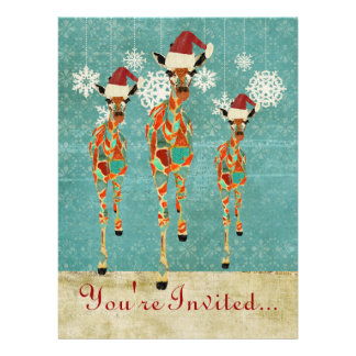 Convite ambarino Azure do feriado dos girafas