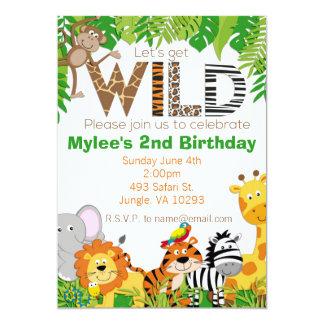 Convite animal do aniversário do safari da selva