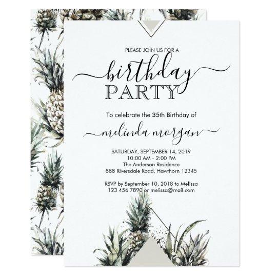 Convite Aniversário Adulto Tropical Do Abacaxi Geométrico Zazzle